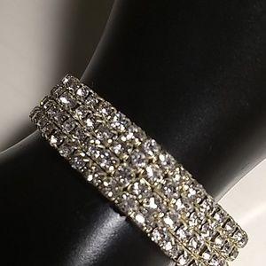 Silver Tone Rhinestone Stretch Bracelet